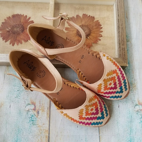 aaf66c363 Handmade Shoes - New Handmade Colorful Mexican Huarache Sandals 9